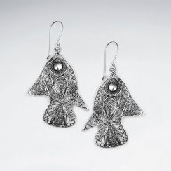 Glamorous Modern Fish Design Filigree Dangle Drop Earrings in Silver