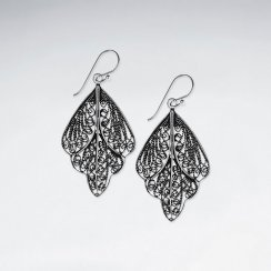 Sterling Silver Dangle Filigreed Delicate Leaf Drop Earrings