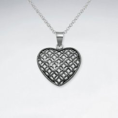 Oxidized Intricate Filigree Oxidized Silver Heart Pendant