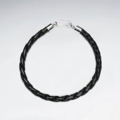 "7"" Black Braided Leather Bracelets With Silver Closing"