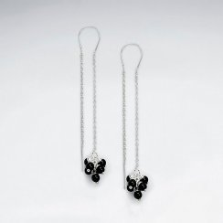 Silver Threader Dangle Earrings With Glimmering Black Gemstone Clusters