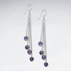 Round Faceted Amethyst Cascaded Silver Dangling Earring