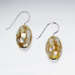 Oval Mother Of Pearl Dangling Silver Earring