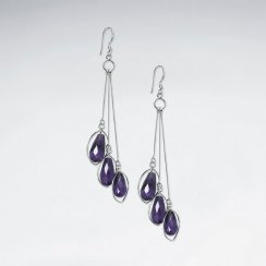 Triple Faceted Amethyst Dangling Earring