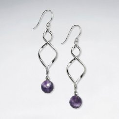Twisted Silver Earring With Round Faceted Amethyst