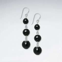 Triple Round Faceted Black Stone Silver Earring