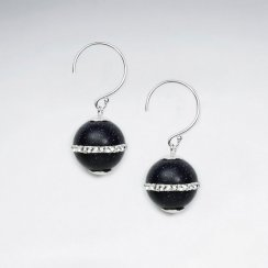 12 mm Round Black Stone Earring With White CZ Stripe