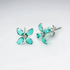 Bluets Flower Silver Earring With Green Enamel And CZ