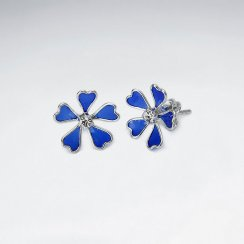 Enamel Love Five Petal Stud Silver Earring With White CZ