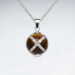 14 mm Tiger Eye Round Silver Pendant With White CZ Cross