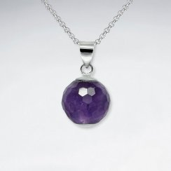14 mm Round Faceted Amethyst Silver Pendant