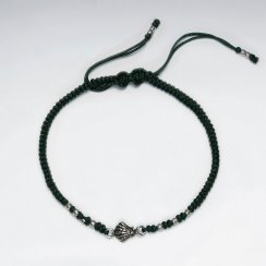 "7"" Adjustable Green Macrame Bracelet With Shell Silver Charm"