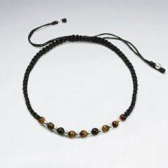 7 '' Adjustable Brown Macrame Waxed Cotton Cord Bracelet With Tiger Eye and Alternating Silver Beads