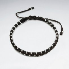 7 '' Adjustable Brown Macrame Waxed Double Cotton Cord Bracelet  With Woven Silver Charms