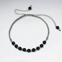 7 '' Adjustable Black Stone and Alternating Silver Charm Black Waxed Cotton Macrame Bracelet