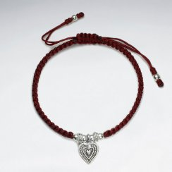 "7"" Adjustable Red Macrame Bracelet With Antique Silver Heart Charm"