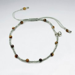 7 '' Adjustable Brown Nylon  Macrame Bracelet With Silver Charms and Alternating Tiger Eye
