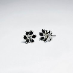Black Daisy Enamel Silver Stud Earring With White CZ