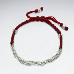 Wax Cotton and Silver Half and Half Bracelet