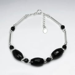 Black Stone Faceted Oval Bead Bracelet