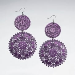 Blue Brass Lacework Double Disc Gradual Drop Earrings