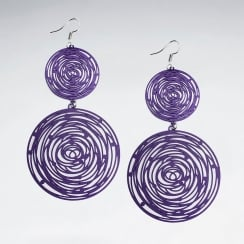 Double Gradual Abstract Fibers Spiral Circle Earrings