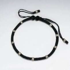 Adjustable Macrame Waxed Cotton Bracelet With Antique Hand Made Silver Beads