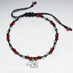 Adjustable Macrame Waxed Cotton Bracelet With Antique Handmade Silver Elephant Charm And Red Glass Beads