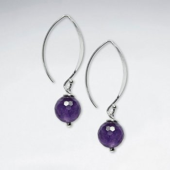 10 mm Amethyst Round Faceted Earring With Silver Marquise Hook
