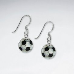 10 mm Football Mother of Pearl And Black Stone Earring