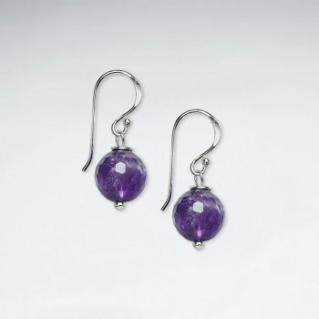 10 mm Round Faceted Amethyst Dangling Silver Earring