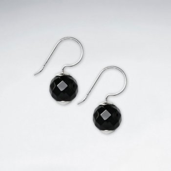 10 mm Round Faceted Black Stone Dangling Silver Earring