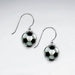 11 mm Football Mother Of Pearl And Black Stone Dangling Silver Earring