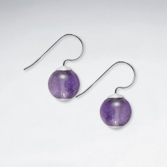 12 mm Round Amethyst Silver Hook Earring