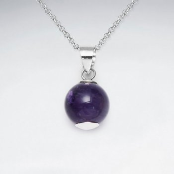 12 mm Round Amethyst Silver Pendant