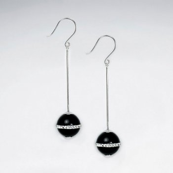 12 mm Round Black Gemstone Dangle Drop Earrings With White CZ Stripe Suspended from Silver Chain and Hook