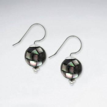 12 mm Round Shell Silver Earring