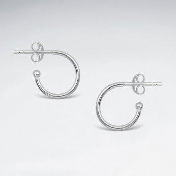 13mm Sterling Silver Ball Tipped Hoop Stud Earrings