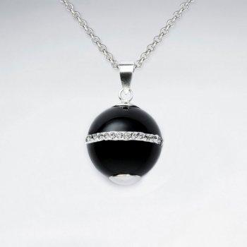 14 mm Black Stone Round Silver Pendant With White CZ Stripe