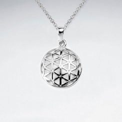 14 mm Dome Flower of Life Silver Pendant