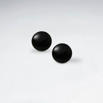 14 mm Round Black Stone Stud Earring