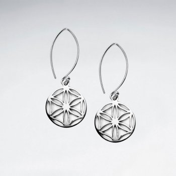 15 mm Flower of Life Long Dangling Silver Disk Earring