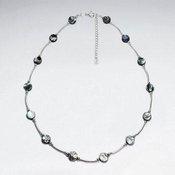 "16.5"" Adjustable Abalone Spaced Beaded Sterling Silver Necklace"