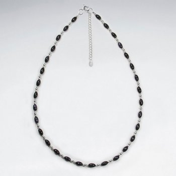 "16.5"" Adjustable Amazingly Stunning Blue Sandstone and Sterling Silver Necklace"