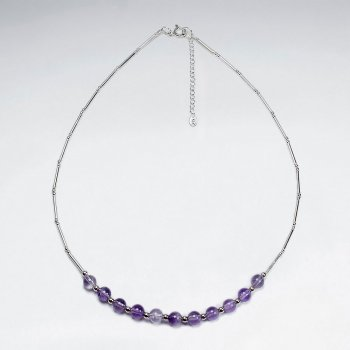 "16.5"" Adjustable Amethyst Accent Necklace in Divine Sterling Silver"