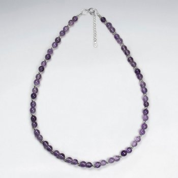 "16.5"" Adjustable Amethyst Beaded Purple Necklace in 925 Sterling Silver"