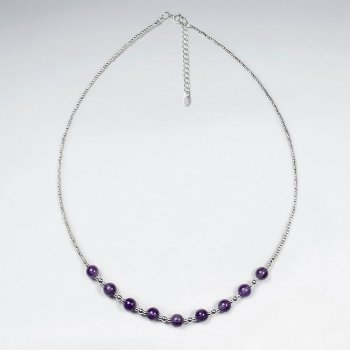 "16.5"" Adjustable Amethyst Round Beaded Necklace in Stunning Sterling Silver"