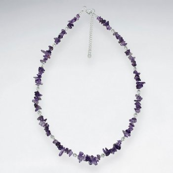 "16.5"" Adjustable Amethyst Stone Beaded Sterling Silver Necklace"