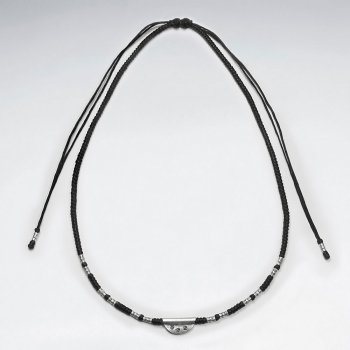 """16.5"""" Adjustable Basic Black Macrame Waxed Cotton Necklace With Silver Tube Beads and Half Circle Charm"""