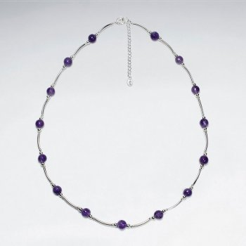 "16.5"" Adjustable Bead Amethyst Spaced Pattern Necklace in 925 Sterling Silver"